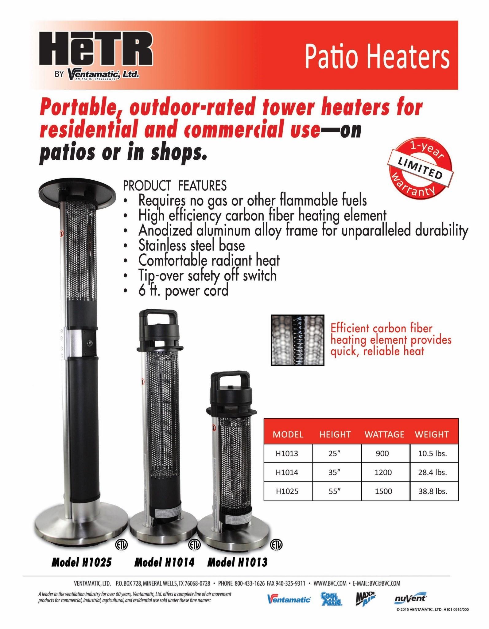 Ventamatic Hetr 1200 Watt Patio Tower Heater 36 Quot Outdoor